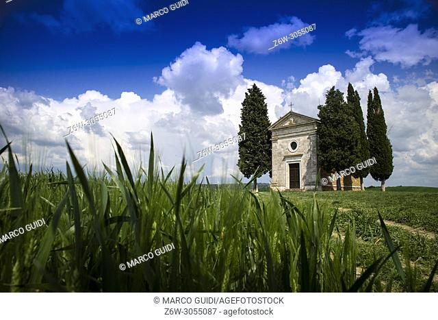 Chapel of the Vitaleta in Val Orcia province of Siena Italy