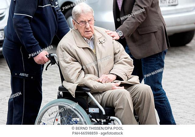 Defendant Reinhold Hanning leaves the continuation of his trial in Detmold, Germany, 11 March 2016. Reinhold Hanning, a 94-year-old World War II SS guard is...