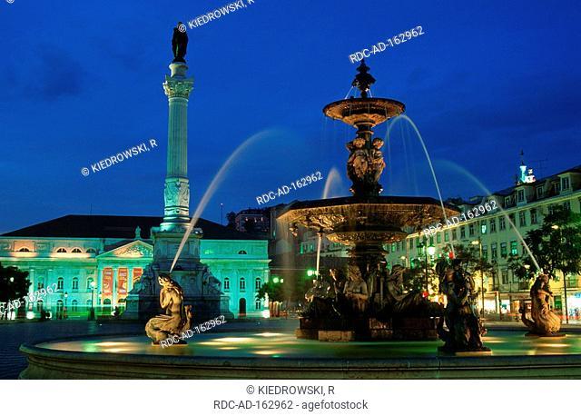 Praca Rossio fountain national theatre Lisbon Portugal Lisboa