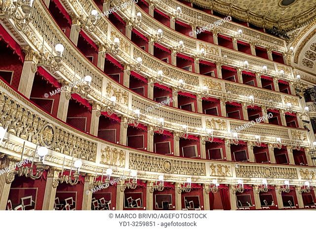 Naples Campania Italy. The Real Teatro di San Carlo (Royal Theatre of Saint Charles), its original name under the Bourbon monarchy but known today as simply...