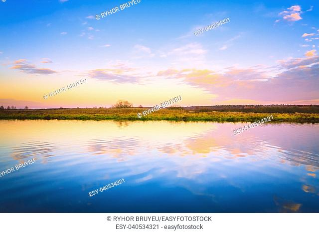 Sunset, Sunrise Over River. Russian Nature Background