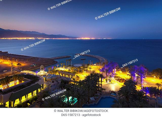 Israel, The Negev, Eilat, elevated view of Red Sea towards Aqaba, Jordan, dawn
