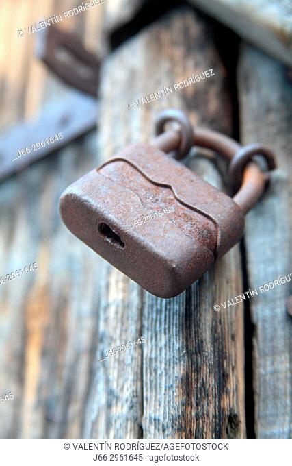 Old padlock in Torla. Pyrenees. Huesca. Aragon. Spain