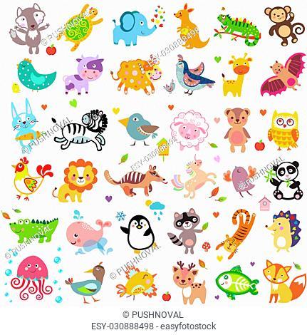 Vector illustration of cute animals and birds: Yak, rabbit, wolf, hen, rooster, chicken, quail, giraffe, vampire bat, cow, sheep, bear, owl, raccoon, hedgehog