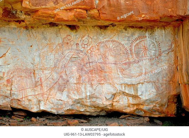 Gallery of rock art on a remote gorge wall of the Traine River Bault Face Ranges inaccessible except by a hovering helicopter,Mornington Wildlife Sanctuary