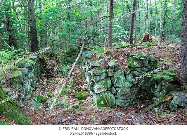 The John Hart home site cellar hole along Sandwich Notch Road in Sandwich, New Hampshire USA. During the early nineteenth century