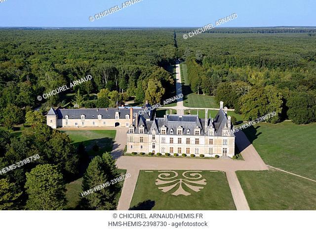France, Loir et Cher, Cellettes, the castle of Beauregard (aerial view)