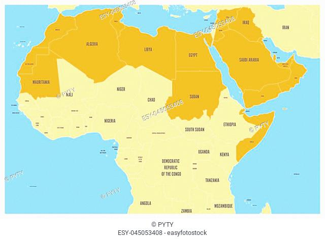 Arab World states political map with orange higlighted 22 arabic-speaking countries of the Arab League. Northern Africa and Middle East region