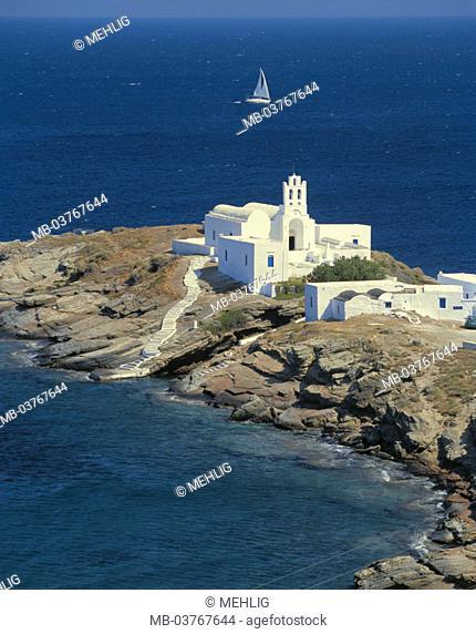 Greece, western Kykladen,  Island Sifnos, cloister Moni tis,  Chrissopigis, sailboat, Europe, southeast Europe, Kykladeninsel, coast, rock coast, rocky