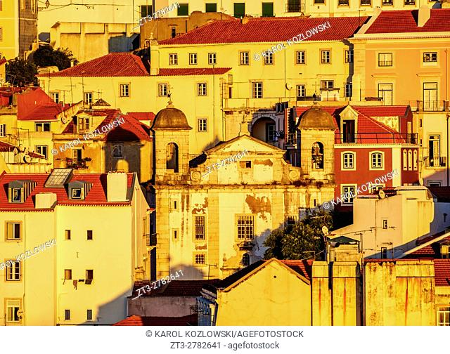 Portugal, Lisbon, View towards the Sao Cristovao and Sao Lourenco Church