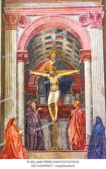 Masaccio Fresco Trinity Christ Santa Maria Novella Church Florence Italy. Created 1427 pioneering perspective in painting