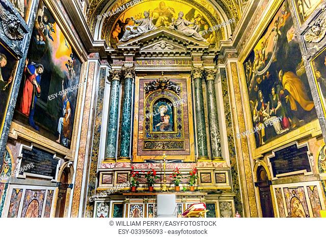 Mary Shrine Christian Paintings Santa Maria Della Pace Church Basilica Rome Italy. Church built in 1400 and 1500s by Pope Sixtus IV on the spot where a painted...