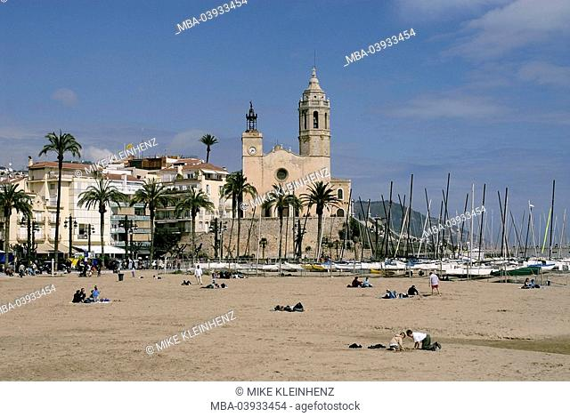 spain, Barcelona, Sitges, beach, church, Catalonia, city, sandy beach, boats, sailboats, people, tourists, vacation, leisure time, buildings, construction