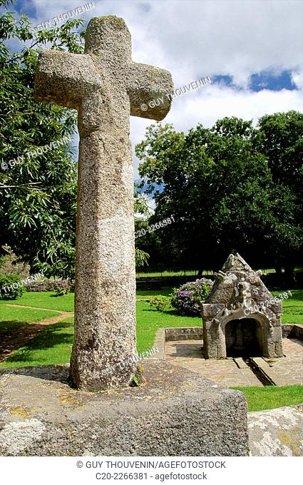 Notre Dame de Troberou chapel ( 15thc. ), and granite stone cross, near Lannilis, Brittany, Finistere 29, France