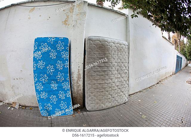 Mattresses Abandoned in the street, Valencia, Spain