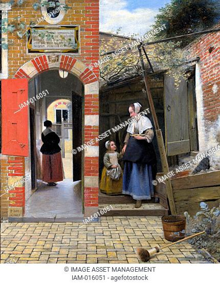 Pieter de Hooch 1629 – 1684 was a genre painter during the Dutch Golden Age. The Courtyard of a house in Delft
