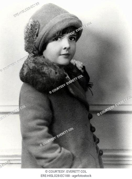Childhood photograph of Nancy Davis the future First Lady Nancy Reagan. 1928-29