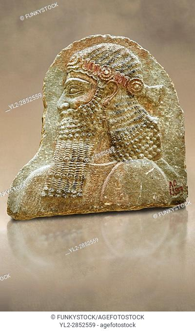 Stone relief sculptured panel of a man. From the facade of the throne room, Inv AO 19917 from Dur Sharrukin the palace of Assyrian king Sargon II at Khorsabad