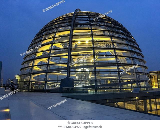 Berlin, Germany. The Dome of the Nation's Centre of Democracy: Der Reichstag by night