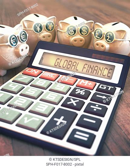 Calculator with global finance and piggy banks, illustration