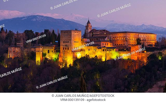 View of the Alhambra iluminated at night