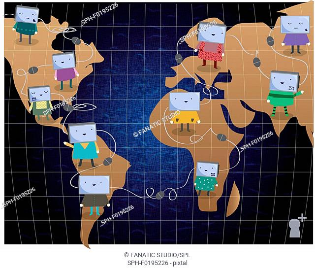 Illustration of global networking