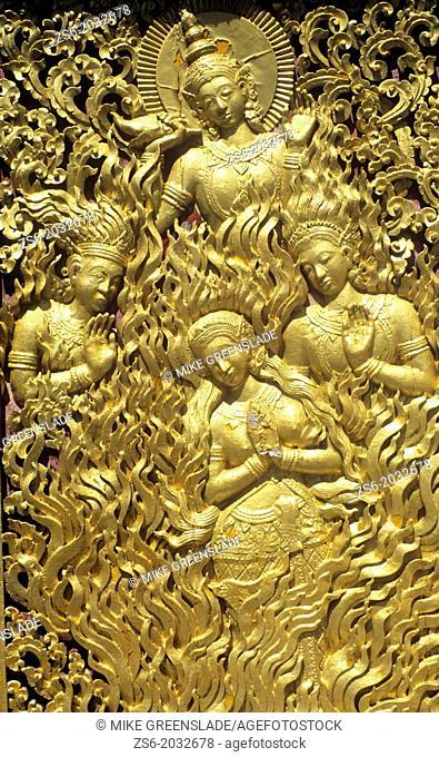 Temple door detail, Wat Xieng Thon , Luang Prabang, Laos