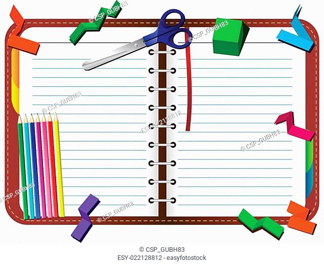 Organizer with pencils, scissors and paper pieces set