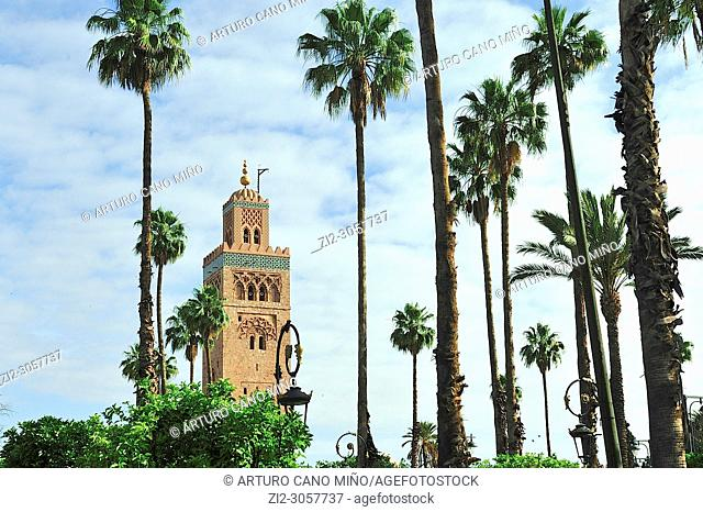 The Koutoubia Mosque, 13th century. Marrakesh city, Morocco