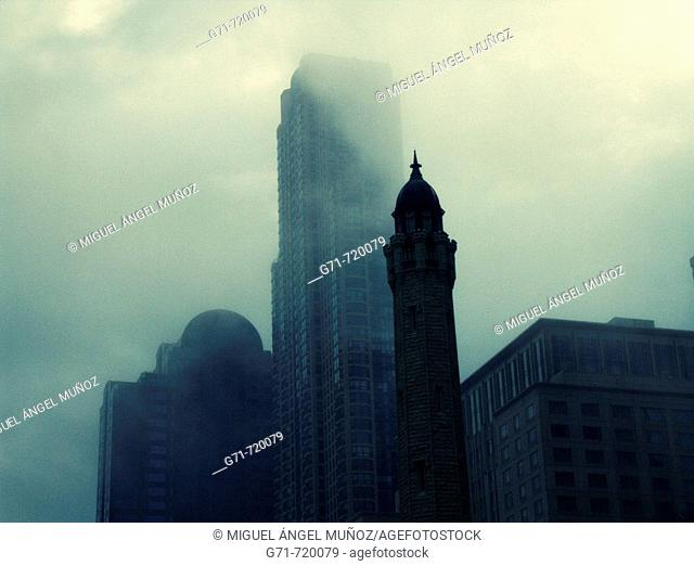 Foggy weather near to the Old Water Tower. North of The Magnificent Mile (North Michigan Avenue). Chicago, Illinois. USA