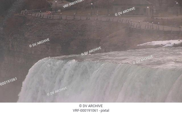 An up close look at top of Niagara Falls