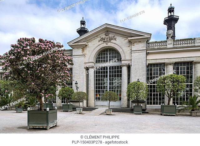 Entrance to the Orangery at the Royal Greenhouses of Laeken in the park of the Royal Palace of Laken, Brussels, Belgium