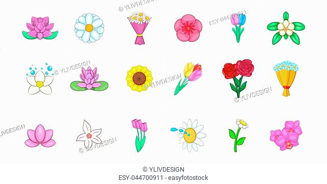 Flower icon set. Cartoon set of flower icons for your web design isolated on white background