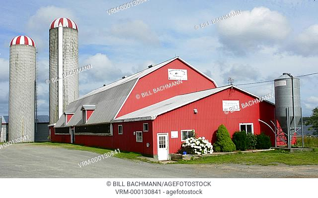 Canada Antigonish Nova Scotia farming a milk products farm called Harbourside Farm with red barn and family owned business