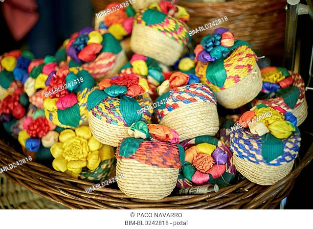 Multicolor trinkets in basket