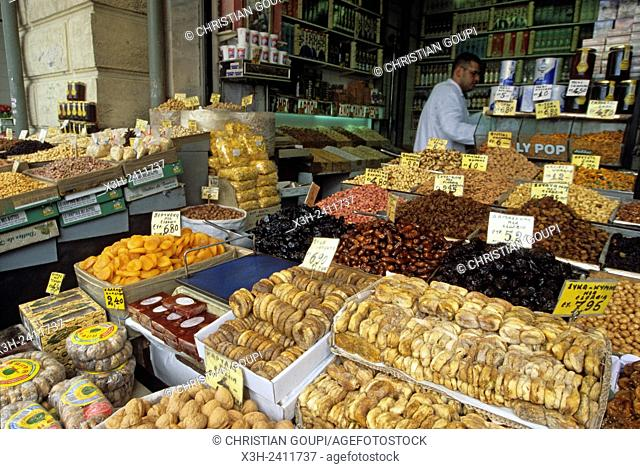 dried fruit at the market, Argolid, Peloponnese, Greece, Southern Europe