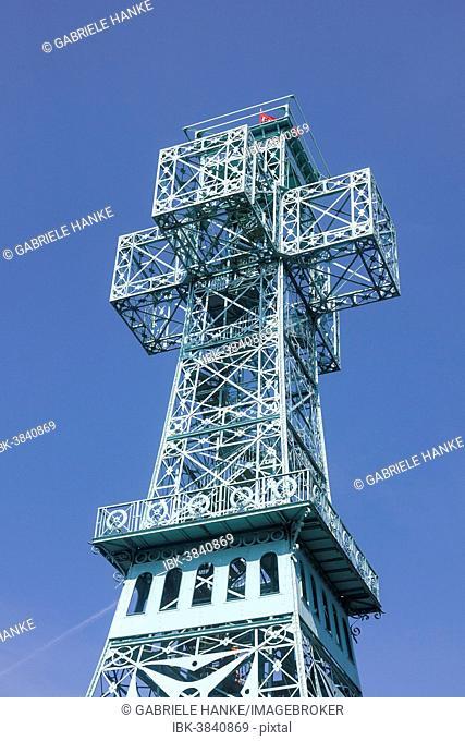 Joseph's Cross, lookout tower on the Great Auersberg Mountain, Stolberg im Harz, Saxony-Anhalt, Germany