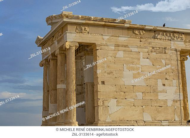 Ruins located at The Parthenon or Temple of Athena on Athenian Acropolis in Greece