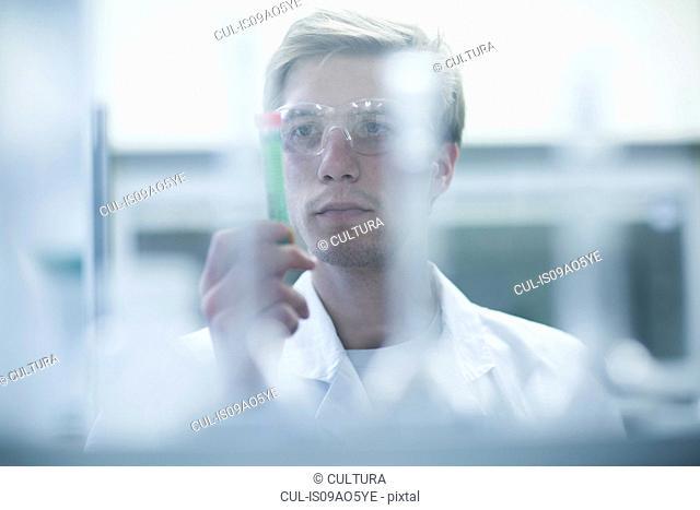 Male scientist scrutinizing test tube in lab