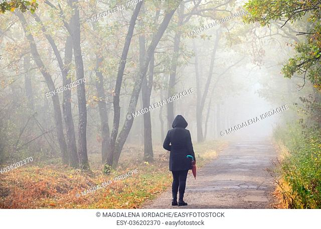 Woman with umbrella on road and foggy forest