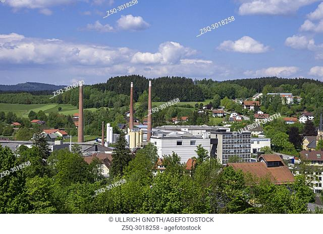 Zwiesel, Bavarian Forest, Bavaria, Germany, view over part of the city and the factory of Zwiesel Kristallglas AG