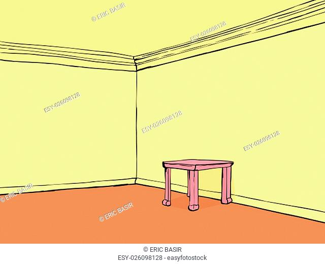 Empty room with yellow walls and pink table