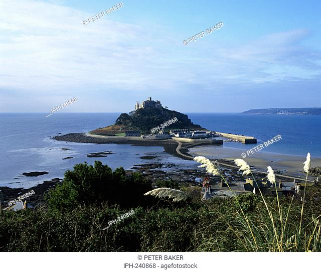 Picturesque view showing the causeway which connects St Michael's Mount to Marizion at low tide