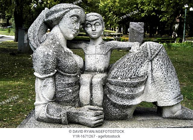Bulgaria, Vidin, City Park, Statue of Mother and Child