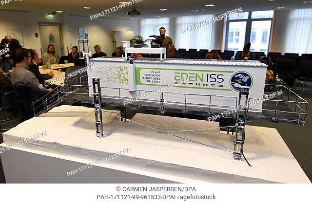 A model of the project 'Eden-ISS' stands at the 'Deutschen Zentrum für Luft- und Raumfahrt (DLR)' (German Aerospace Center) during a press conference in Bremen