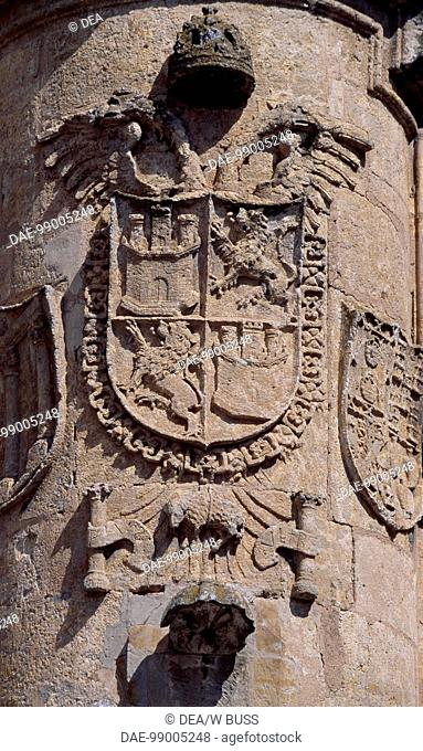 Royal crest, detail from Ciudad Rodrigo City Hall, Castile and Leon. Spain, 16th century
