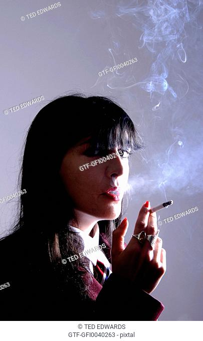 Female smoking a cigarette