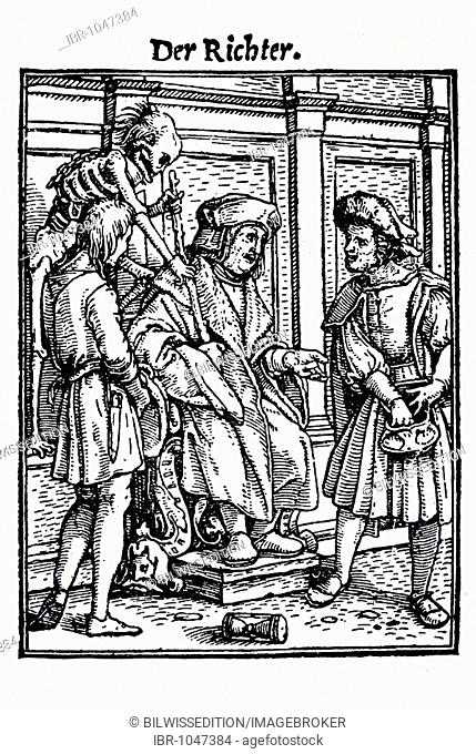 Woodcut, The Judge, Hans Holbein the Younger, Dance of Death, 1538