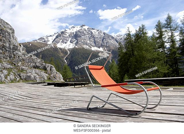 Switzerland, deck chair on sun deck