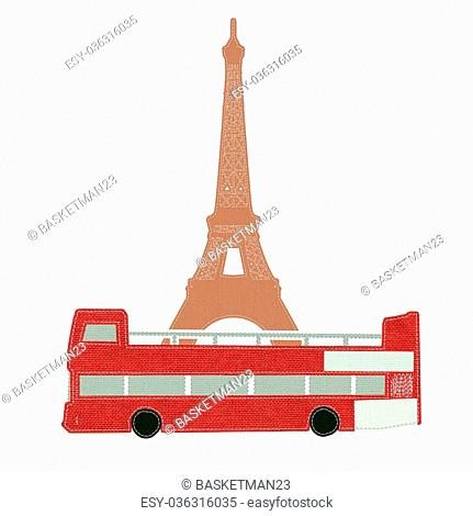 Eiffel tower, Paris. France in stitch style on fabric background